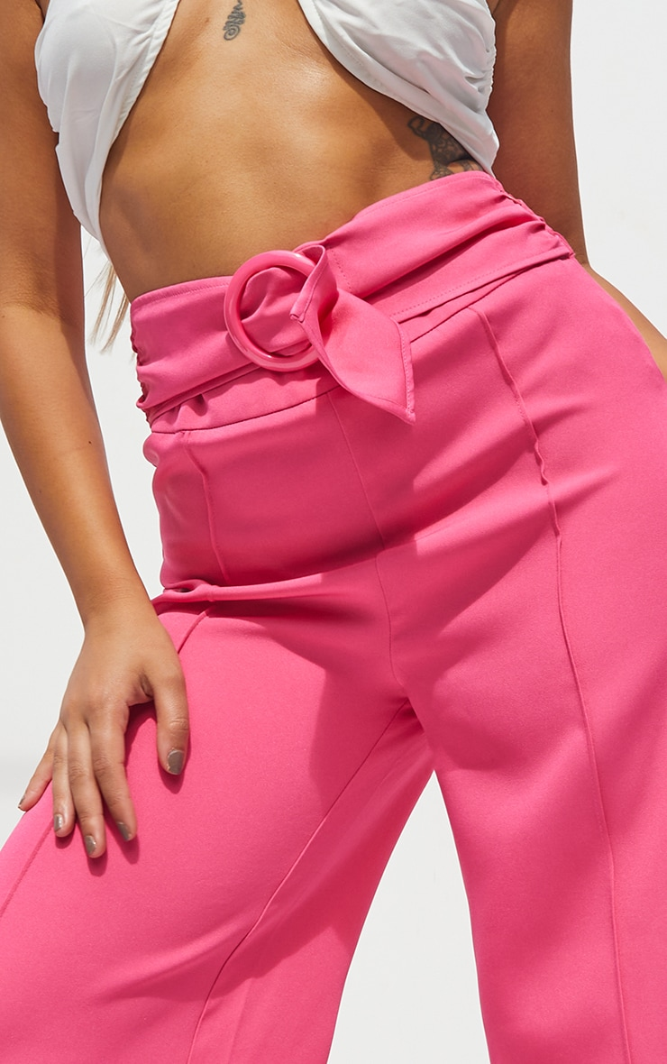 Petite Hot Pink Belted High Waisted Trousers 4