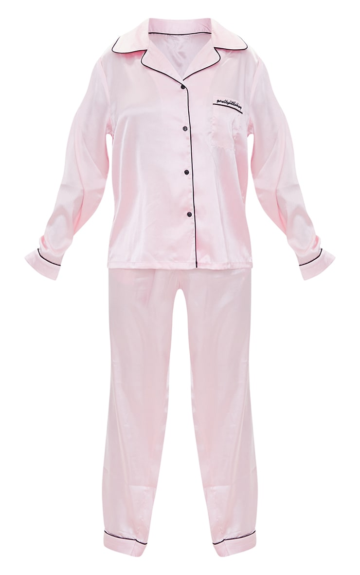 PRETTYLITTLETHING Petite Baby Pink Satin Pocket Long PJ Set 5