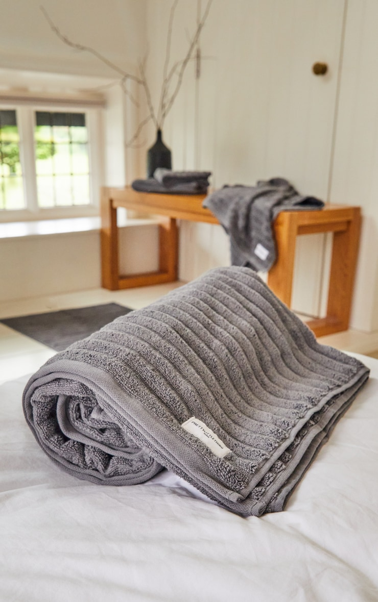 Charcoal Textured Ribbed Cotton Large Bath Towel  3