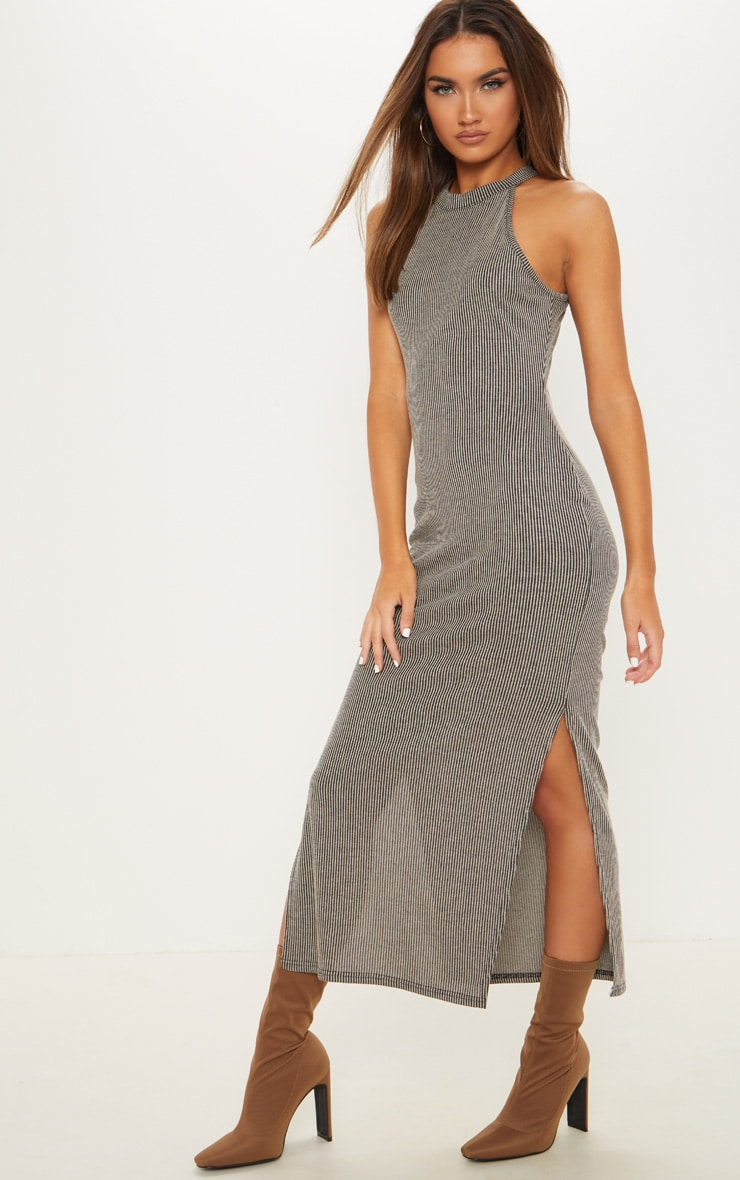 Stone Rib Knitted Midi Dress