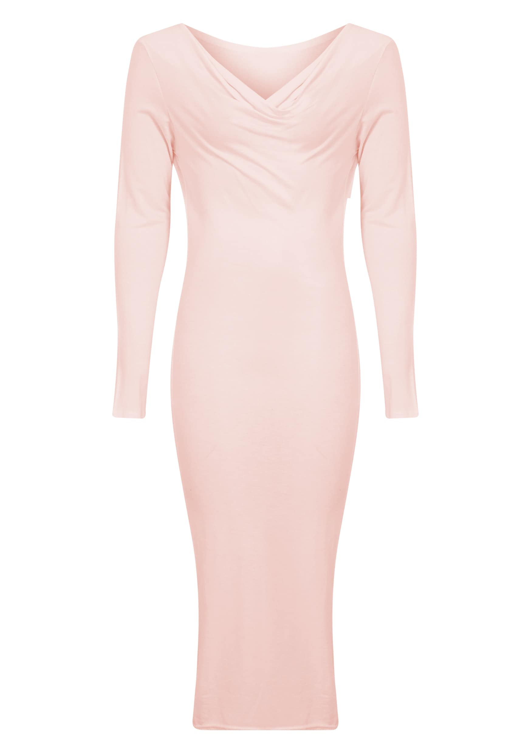 Lise Nude Jersey Cowl Neck Midi Dress  5