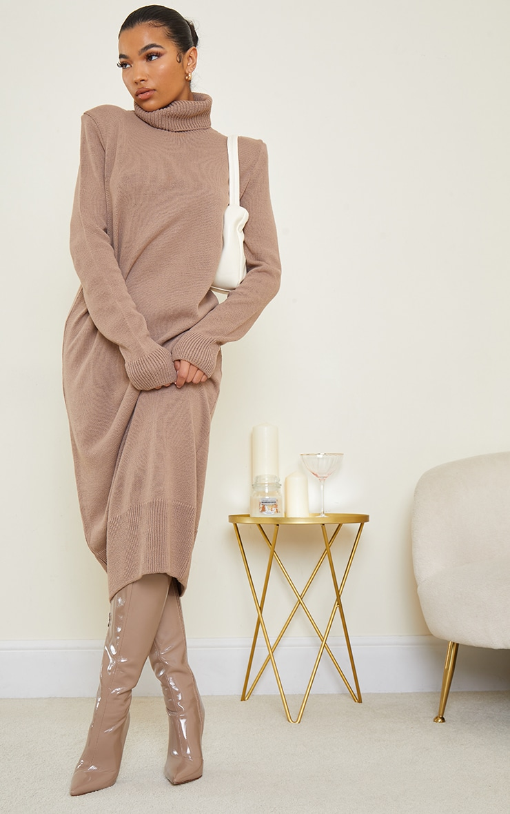 Camel Roll Neck Shoulder Pad Knitted Midi Sweater Dress 1