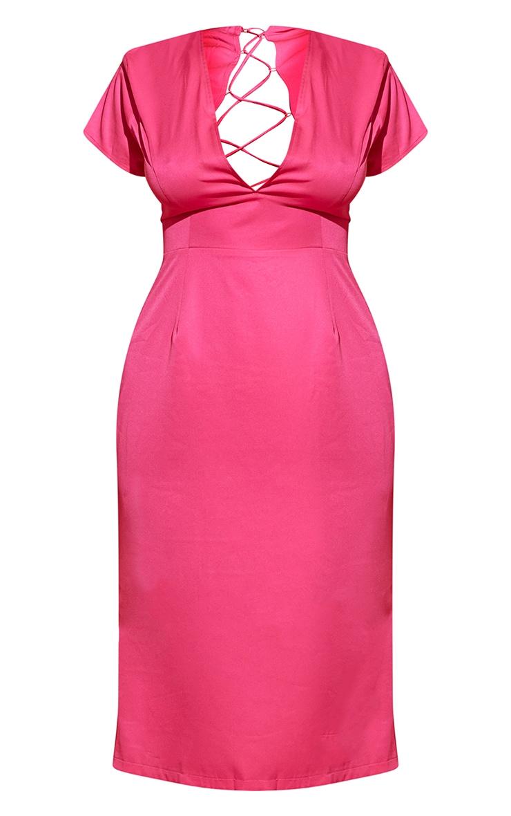 Plus Hot Pink Lace Up Back Satin Midi Dress 5