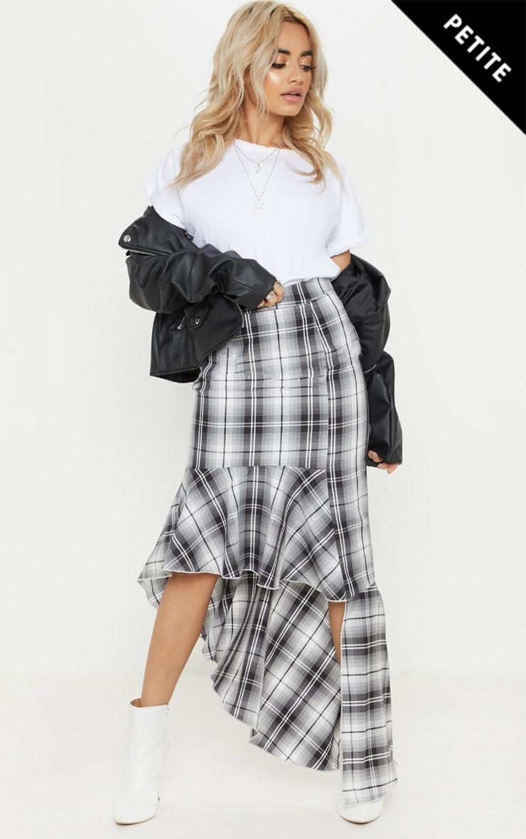 Petite Grey Check Frill Hem Midi Skirt 1