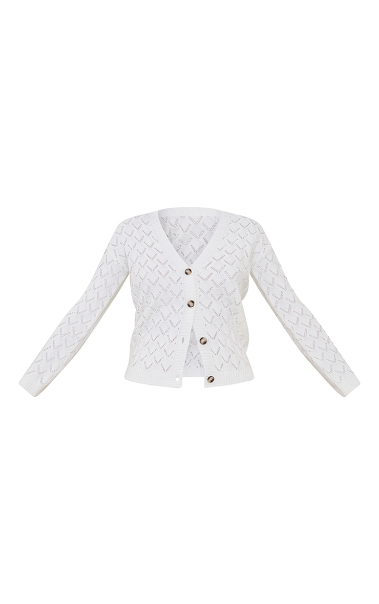 Cream Pointelle Button Up Slouchy Cardigan 5