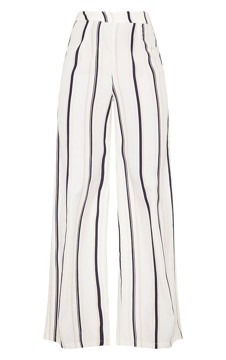 White Striped Wide Leg Trouser 3