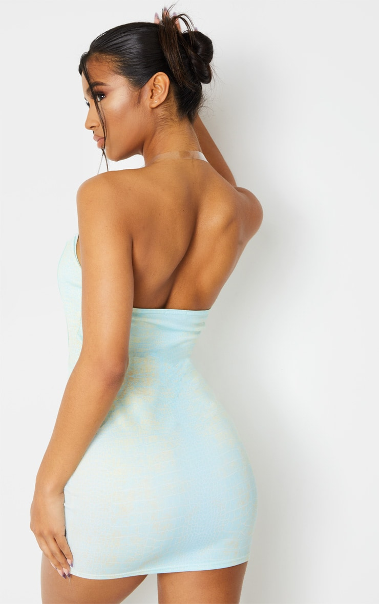 Blue Croc Print Binded Detail Clear Strap Bodycon Dress 2