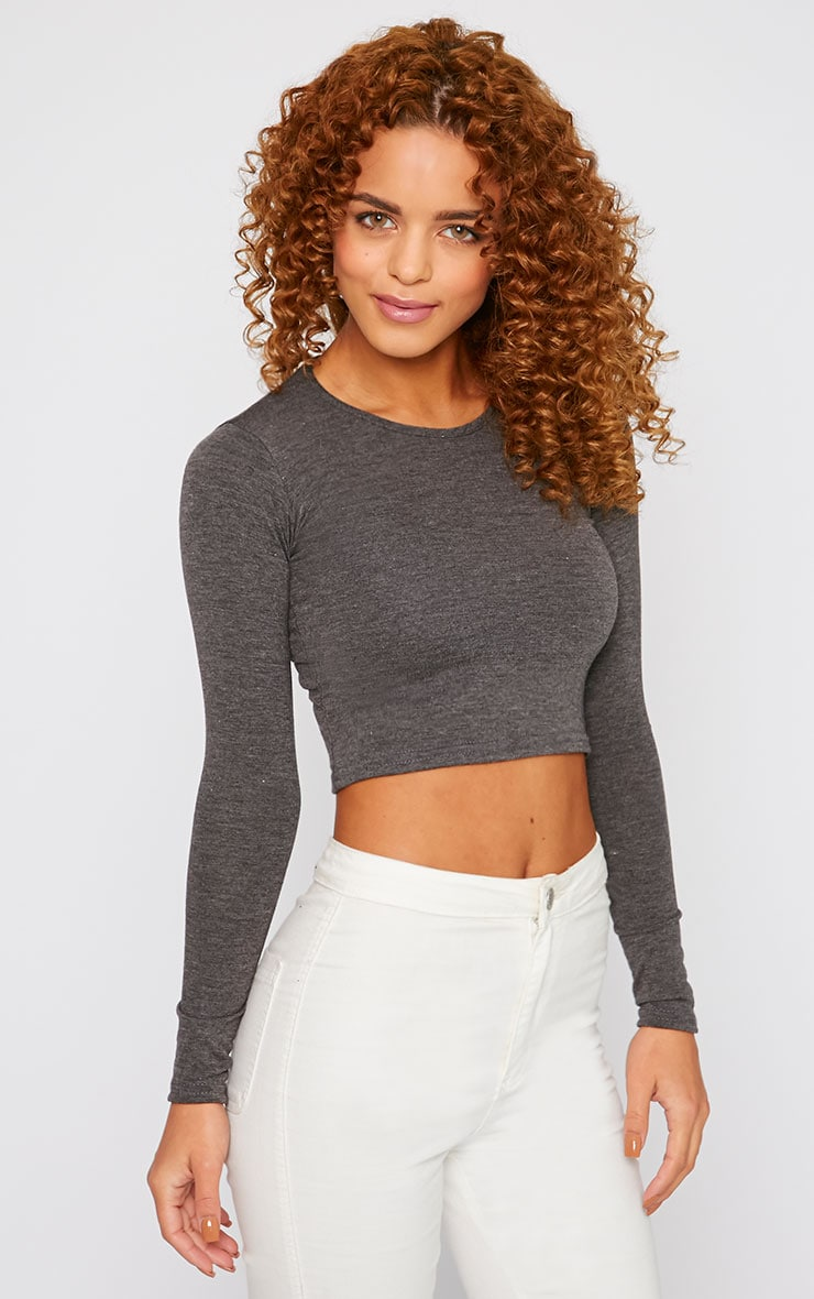 Basic Charcoal Long Sleeved Crop Top 1