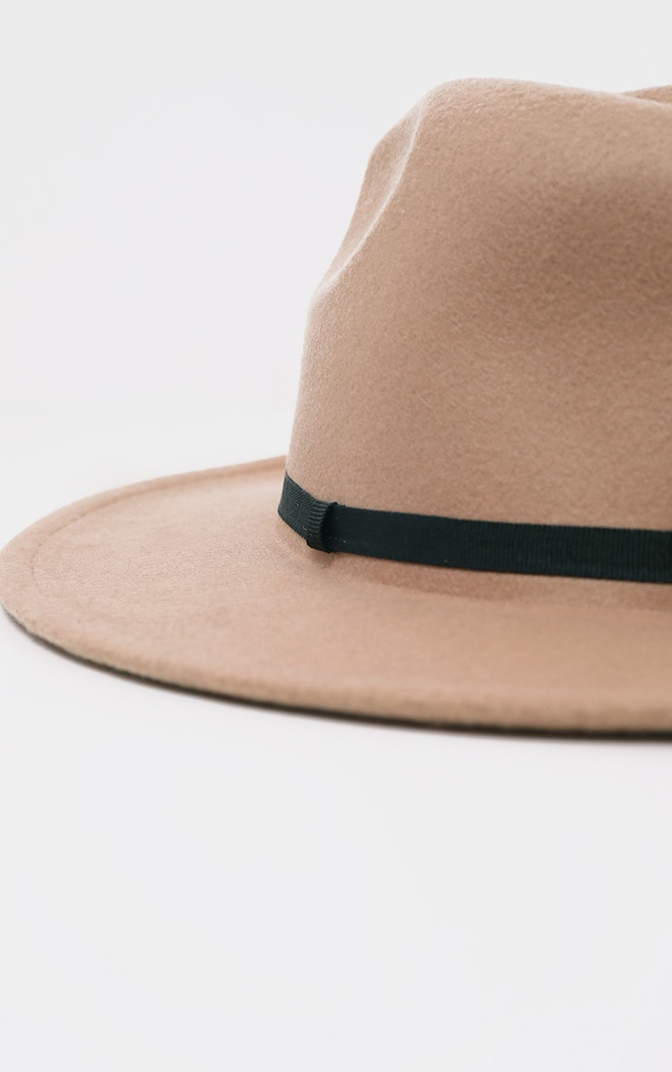 Tan Felt Fedora Hat 3