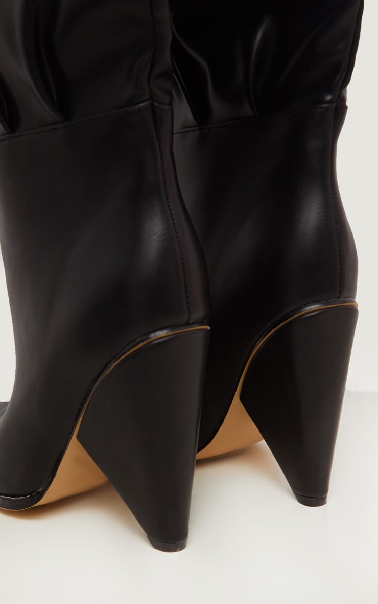 Black Cone Heel Thigh High Boot 5