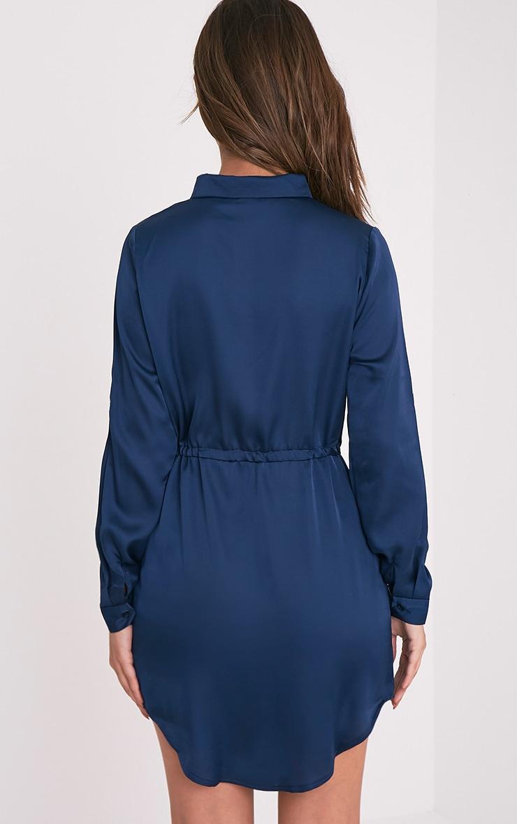 Amanda Navy Tie Waist Satin Shirt Dress 2