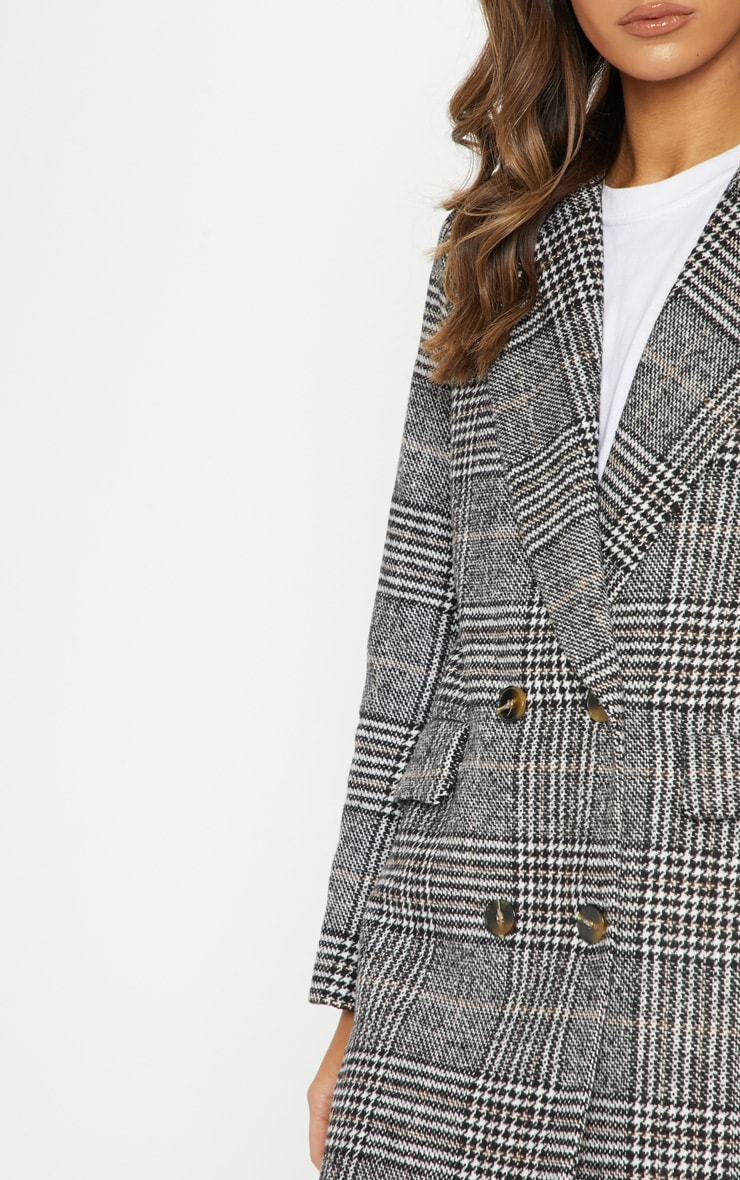 Black Oversized Check Coat 5