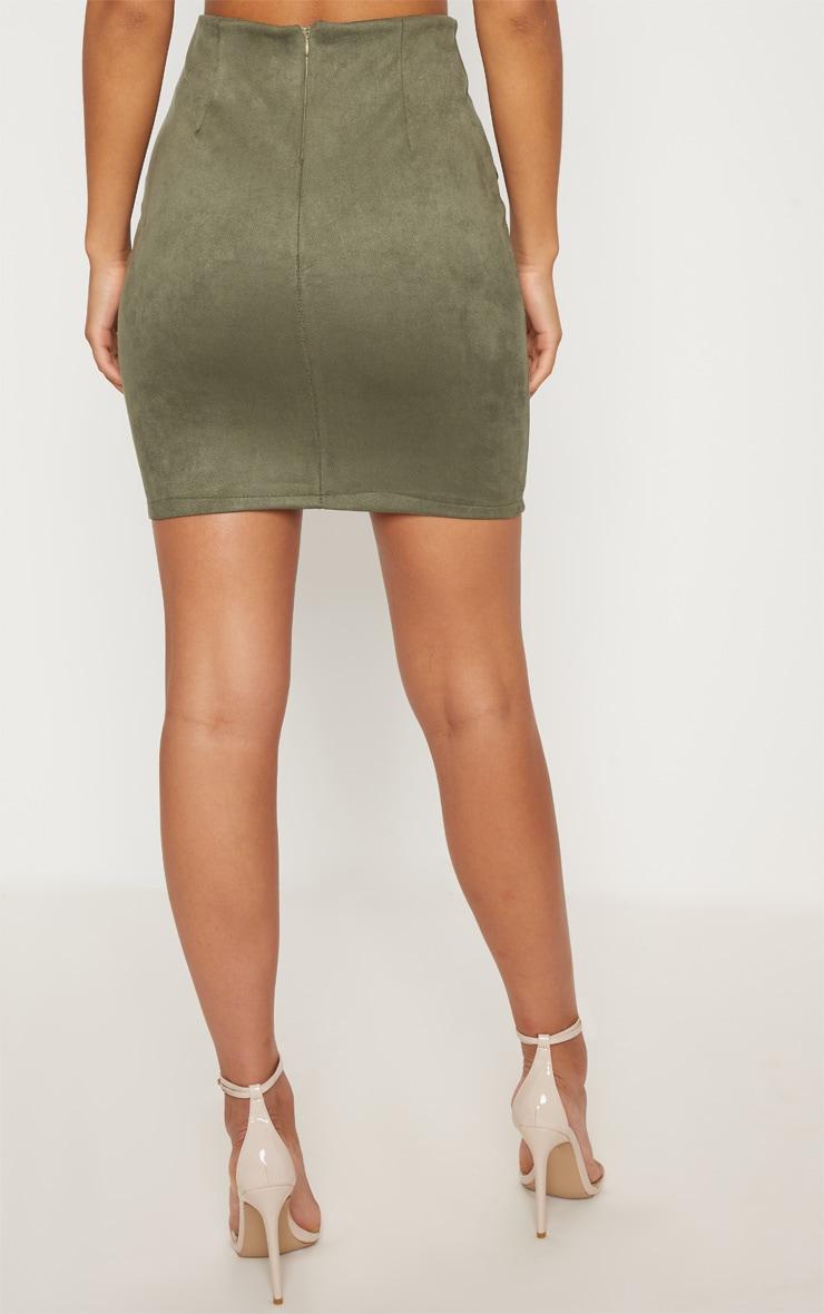 Khaki Faux Suede Military Button Mini Skirt 4