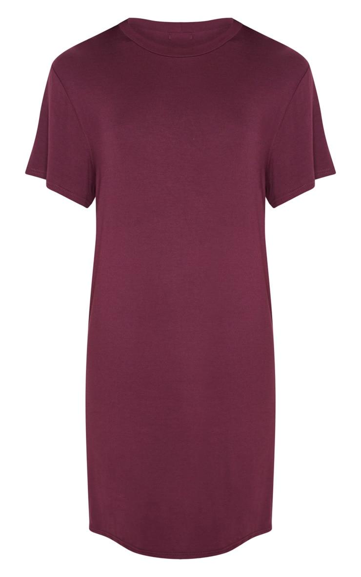 Basic Deep Burgundy Short Sleeve T Shirt Dress 3