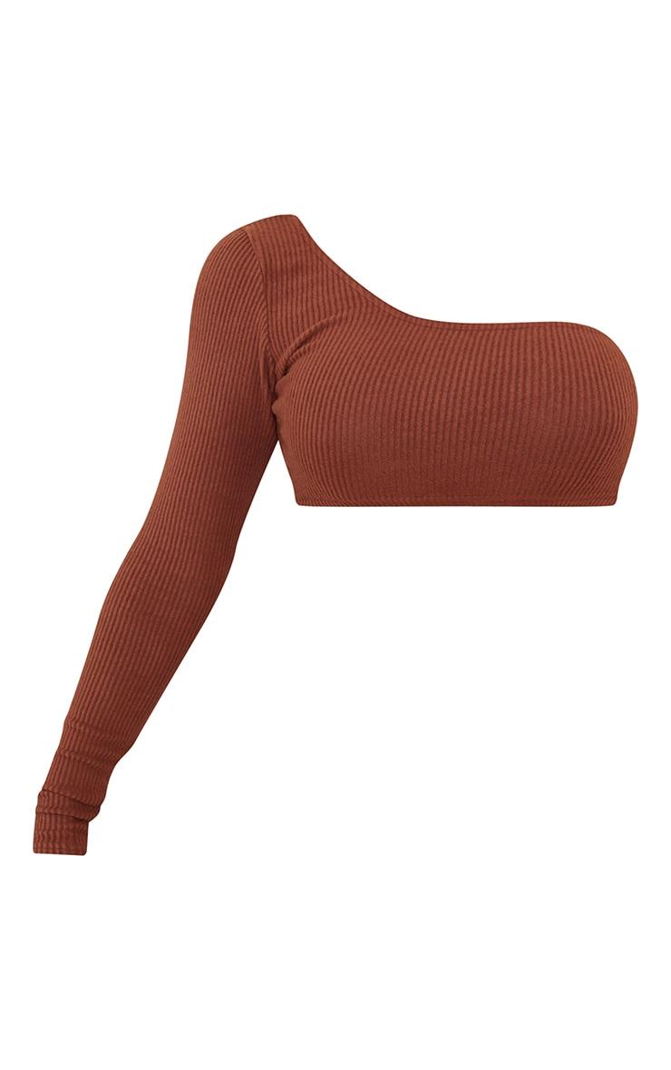 Chocolate Brown Brushed Rib One Shoulder Crop Top 5