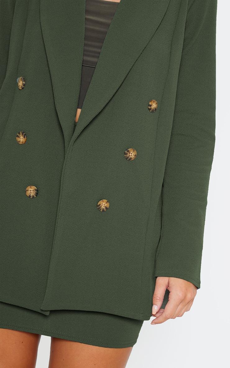 Khaki Oversized Button Detail Blazer  5