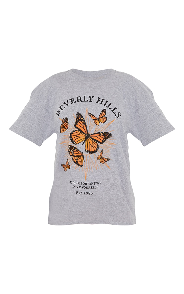 Grey Beverly Hills Butterfly Printed T Shirt 5