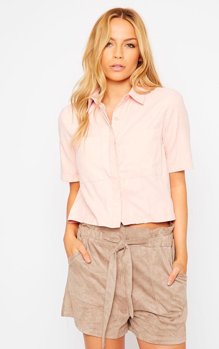 Brona Pink Crop Utility Shirt 1