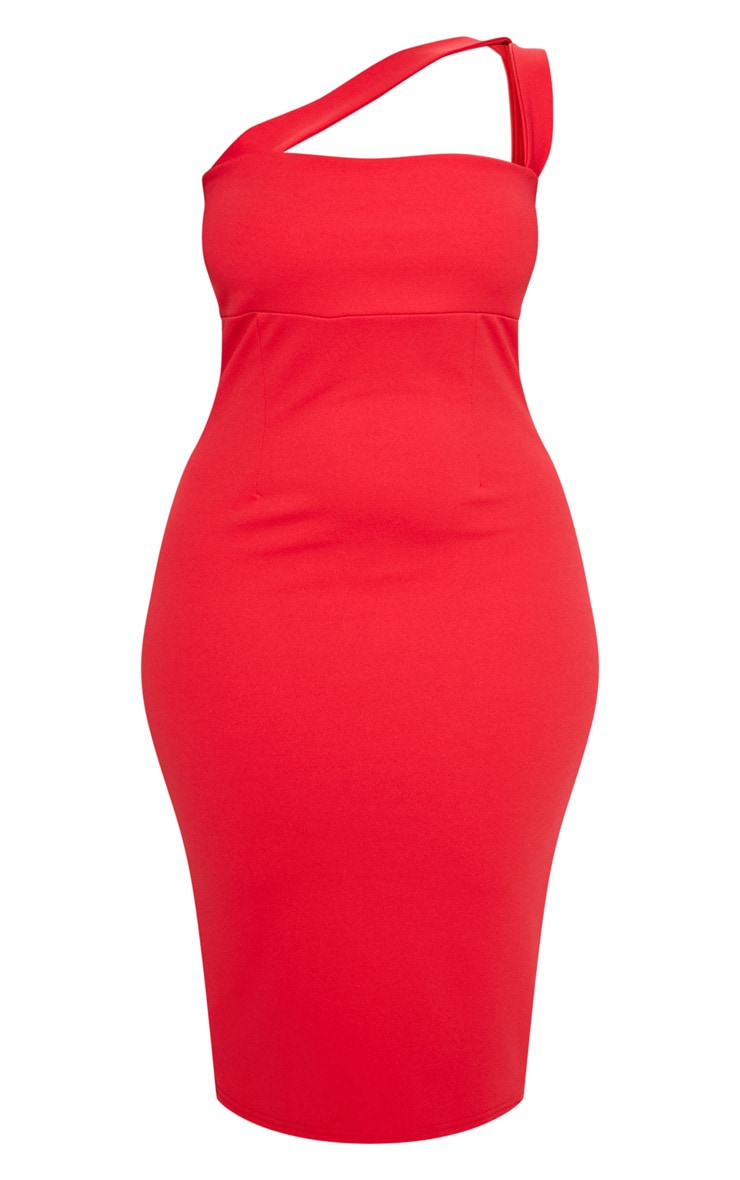 Red One Shoulder Strappy Midi Dress 4