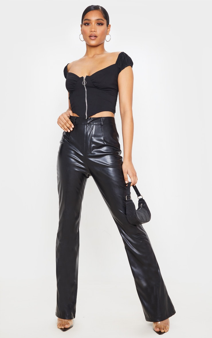 Black PU Flared Detail Trousers 1