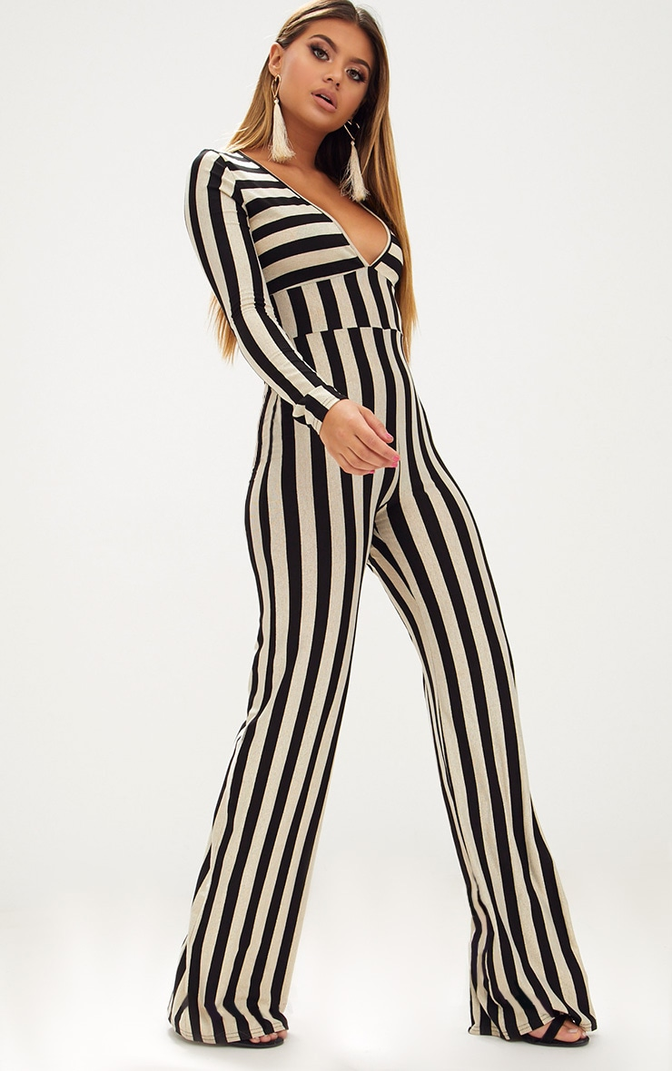 Gold Striped Long Sleeve Plunge Jumpsuit 4