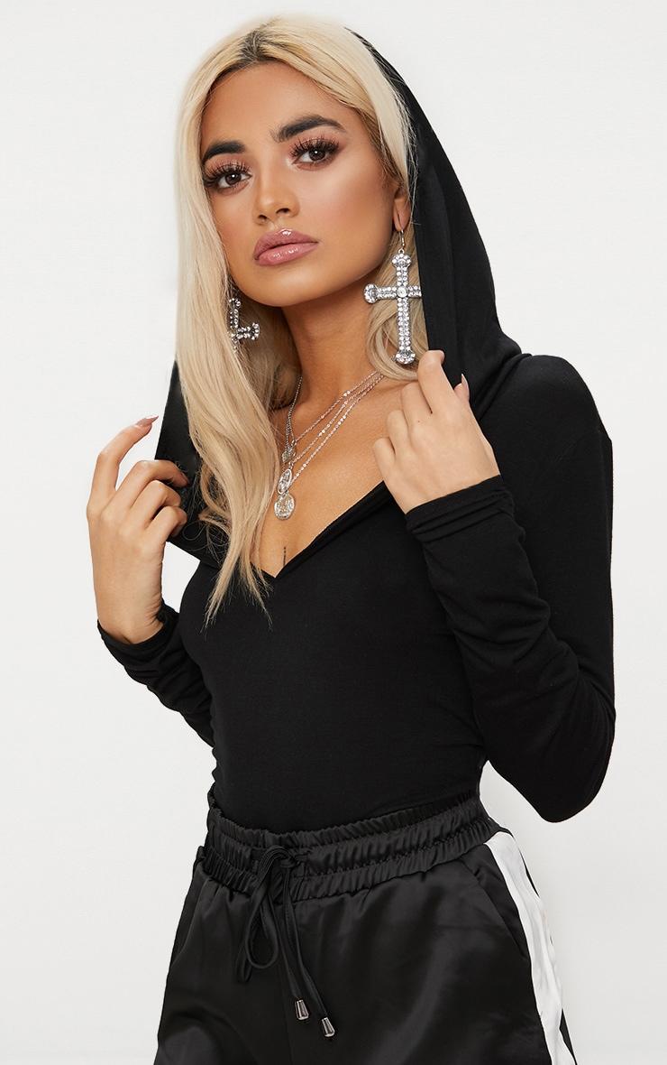 Black Jersey Hoodie Bodysuit 1