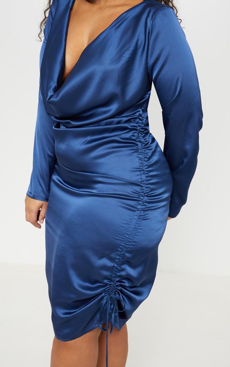 Plus Navy Satin Cowl Neck Ruched Midi Dress 5