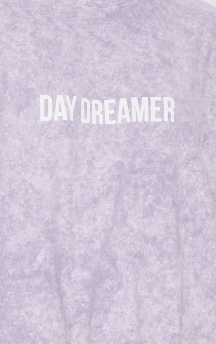 Purple Acid Wash Day Dreamer Slogan T Shirt 5