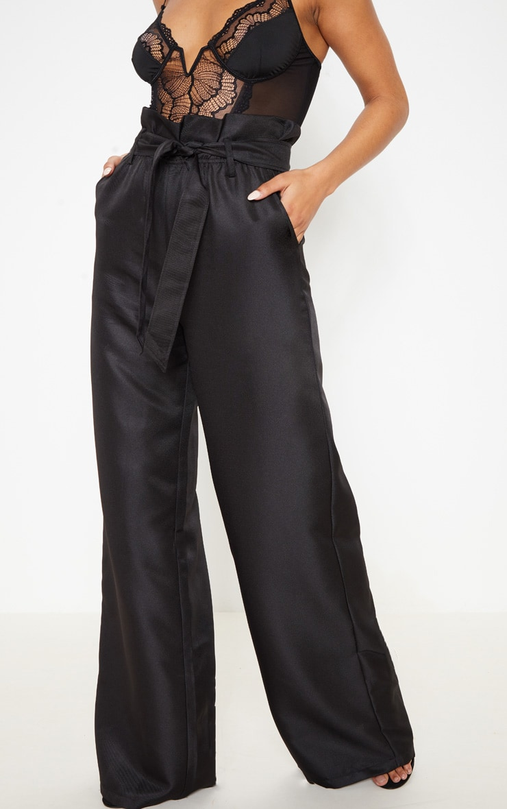Black Tie Waist Paperbag Wide Leg Trouser 2