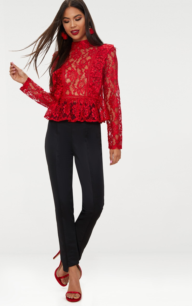 Red Frill Front Lace Blouse  4