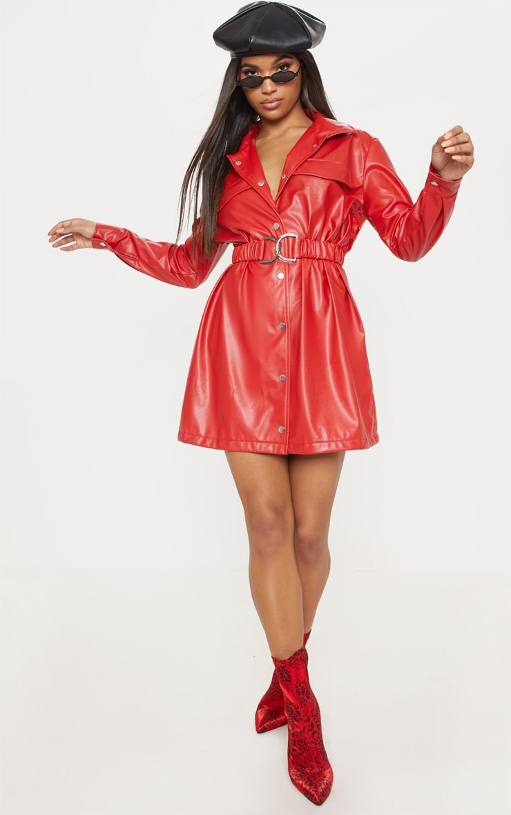 Red Faux Leather Belted Shirt Dress 4