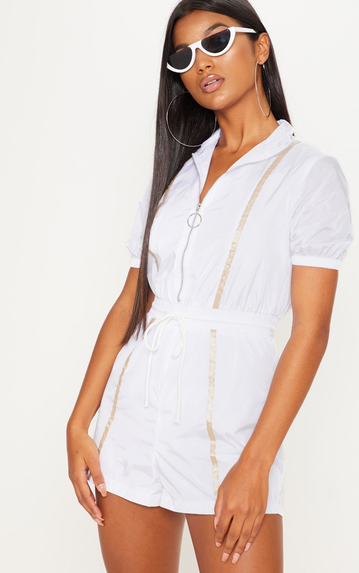 White Shell Zip Up Playsuit