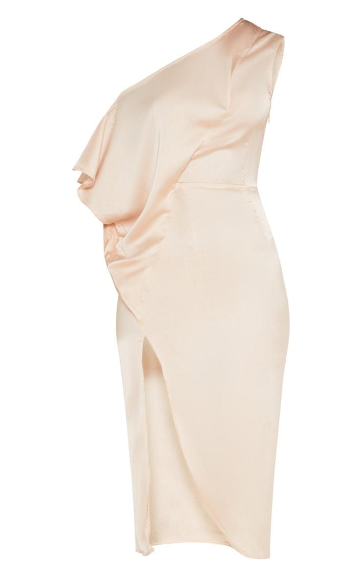 Champagne Satin One Shoulder Cape Sleeve Midi Dress 3