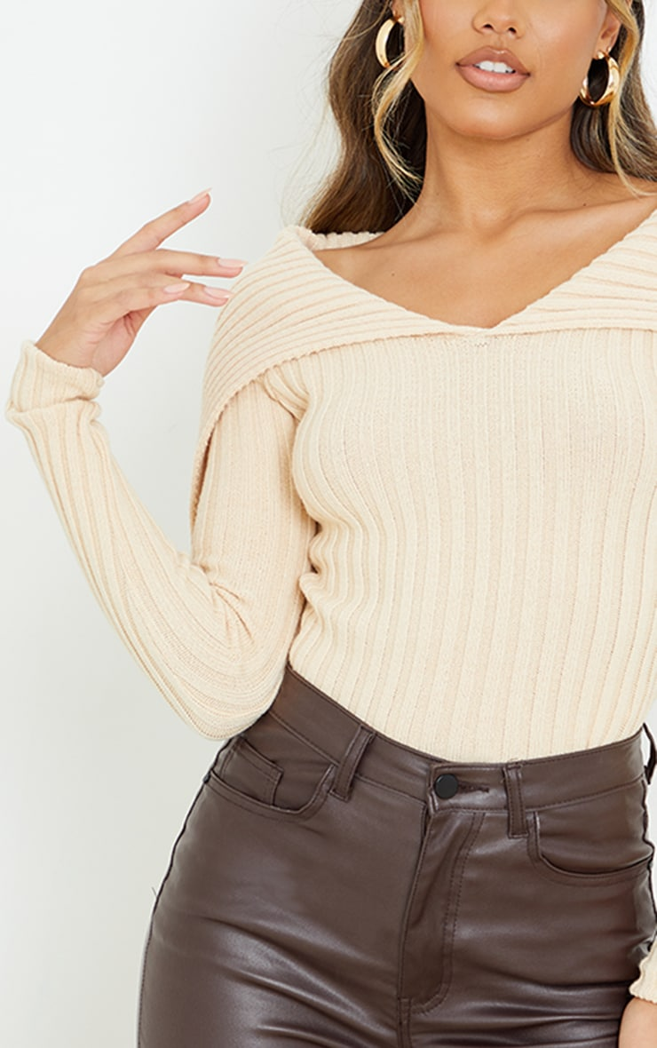 Stone Off Shoulder Collar Detail Ribbed Sweater 4