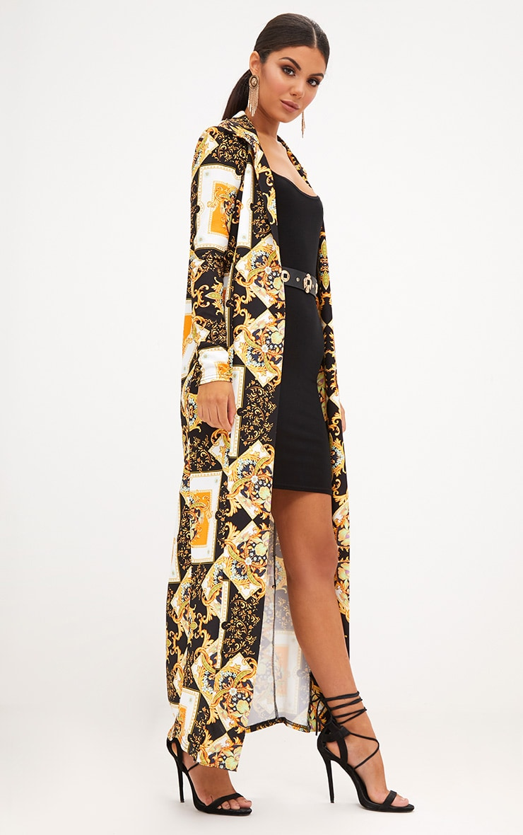 Black Scarf Print Duster Jacket 1