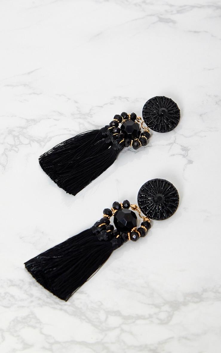 Black Acrylic Bead Tassel Earring 3
