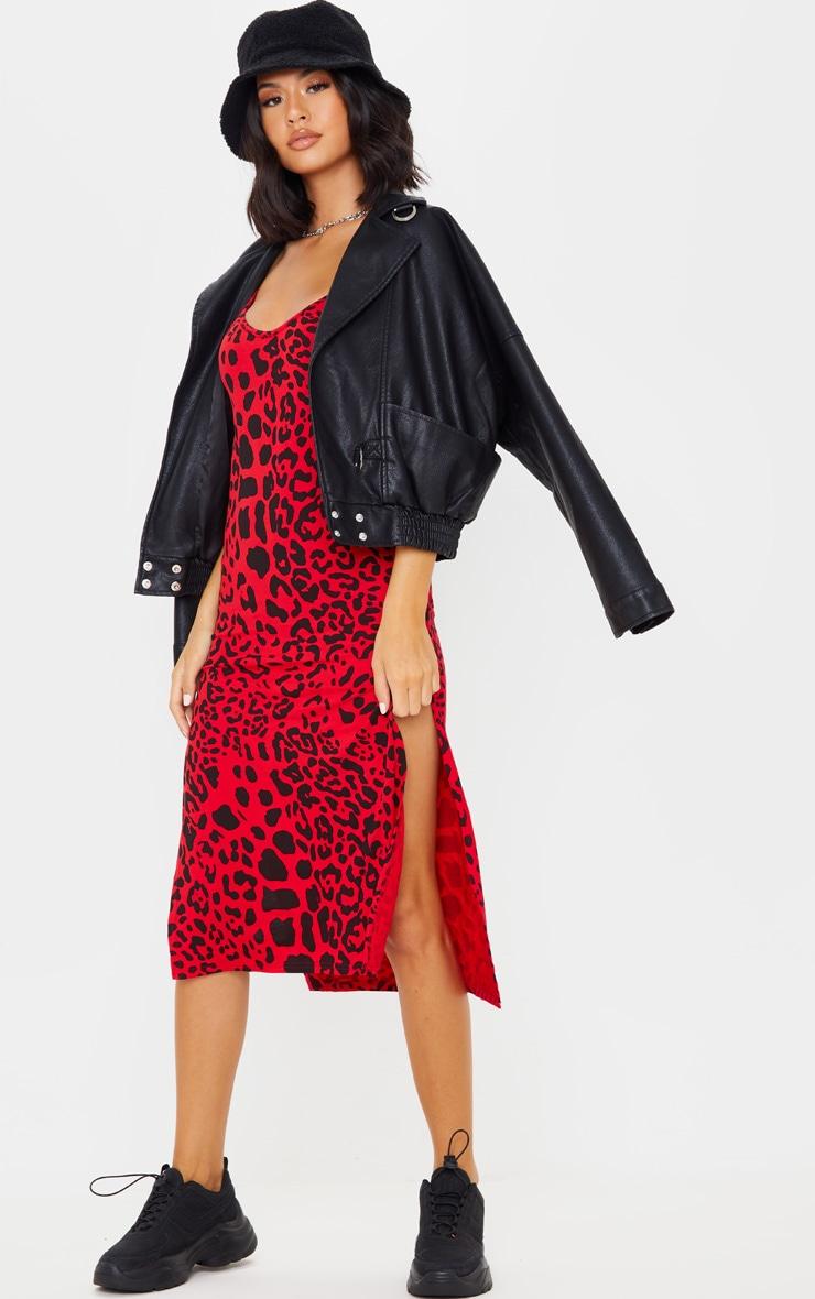 Red Leopard Print Jersey Split Midi Dress 1