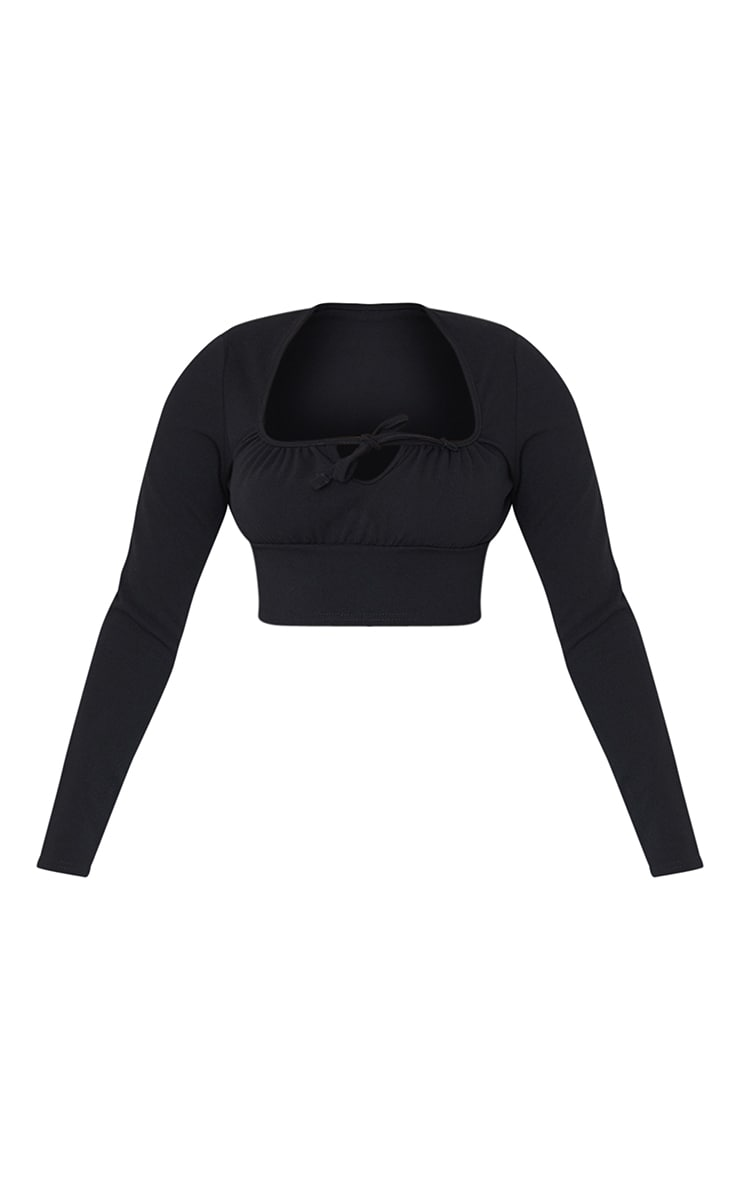 Black Long Sleeve Tie Front Crop Top 5