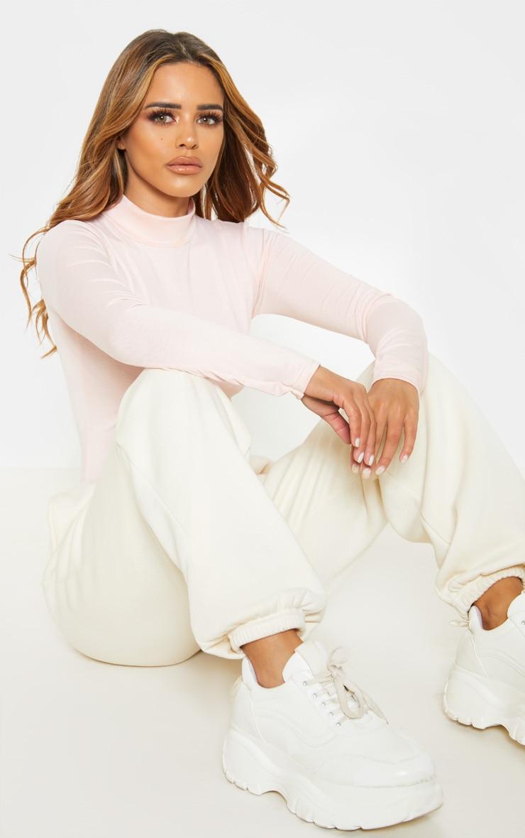 Petite Baby Pink Basic High Neck Bodysuit 5