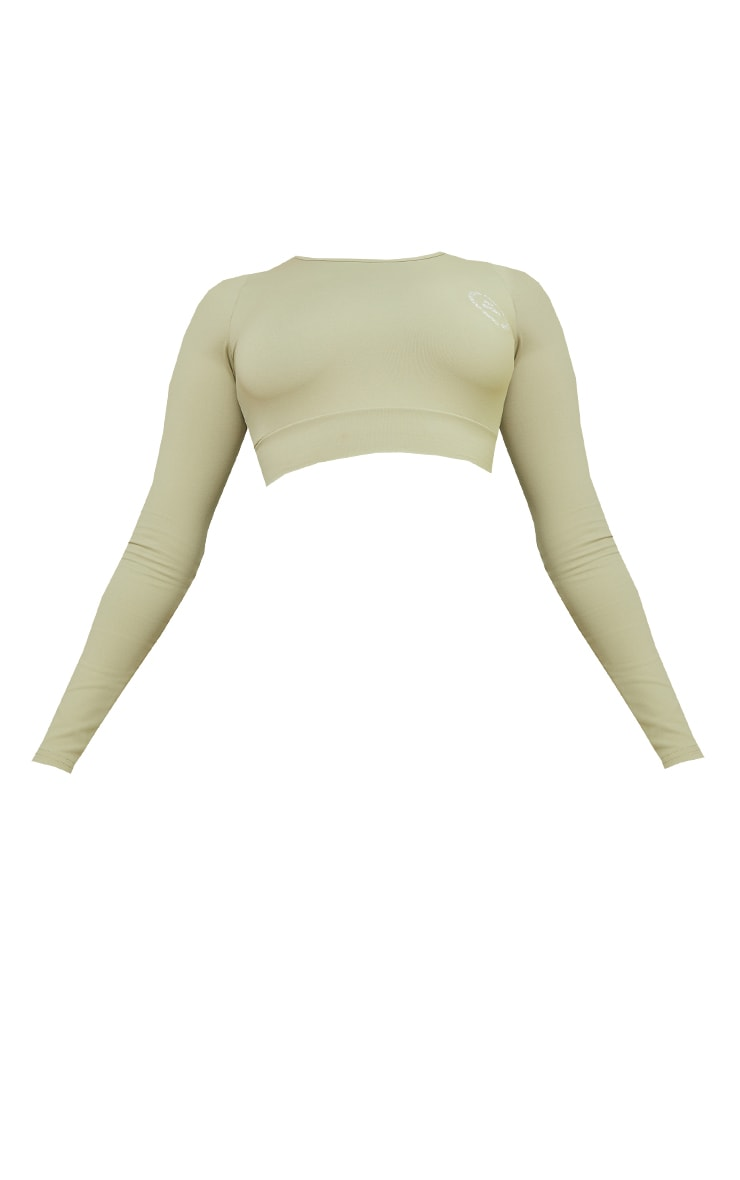 PRETTYLITTLETHING Olive Sport Cool Down Long Sleeve Crop Top 5