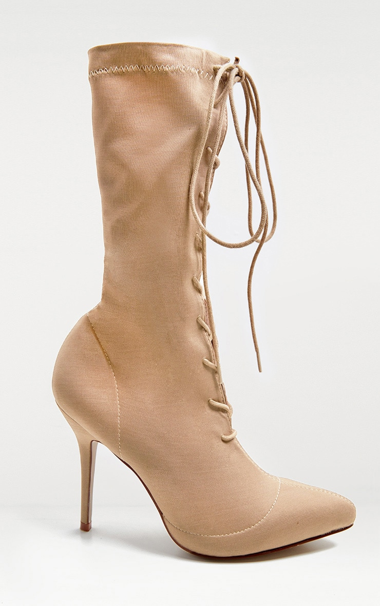 Nude Mid Heel Lace Up Ankle Boot  3
