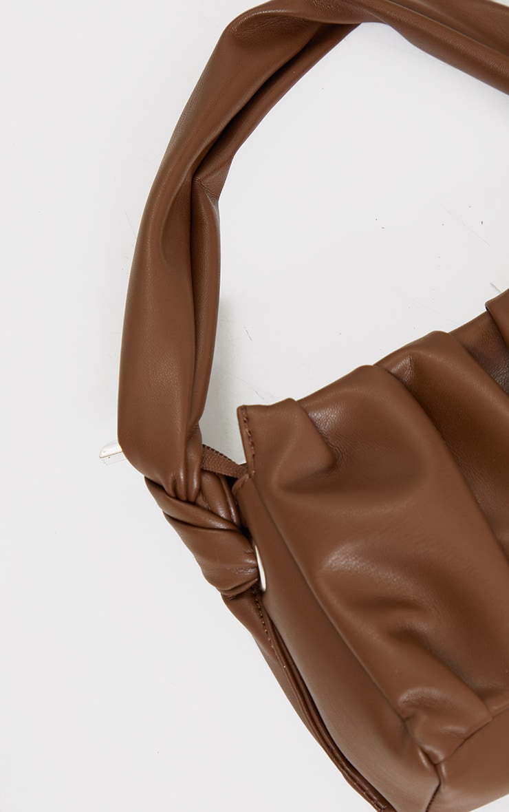 Chocolate Pleated Front Shoulder Bag 3