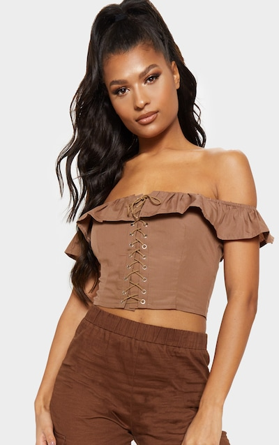 05a53951091297 Taupe Lace Up Bardot Frill Crop Top