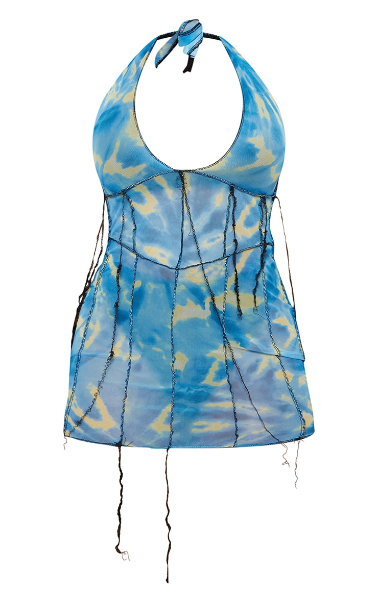Shape Blue Tie Dye Sheer Mesh Halterneck Seam Detail Bodycon Dress 5