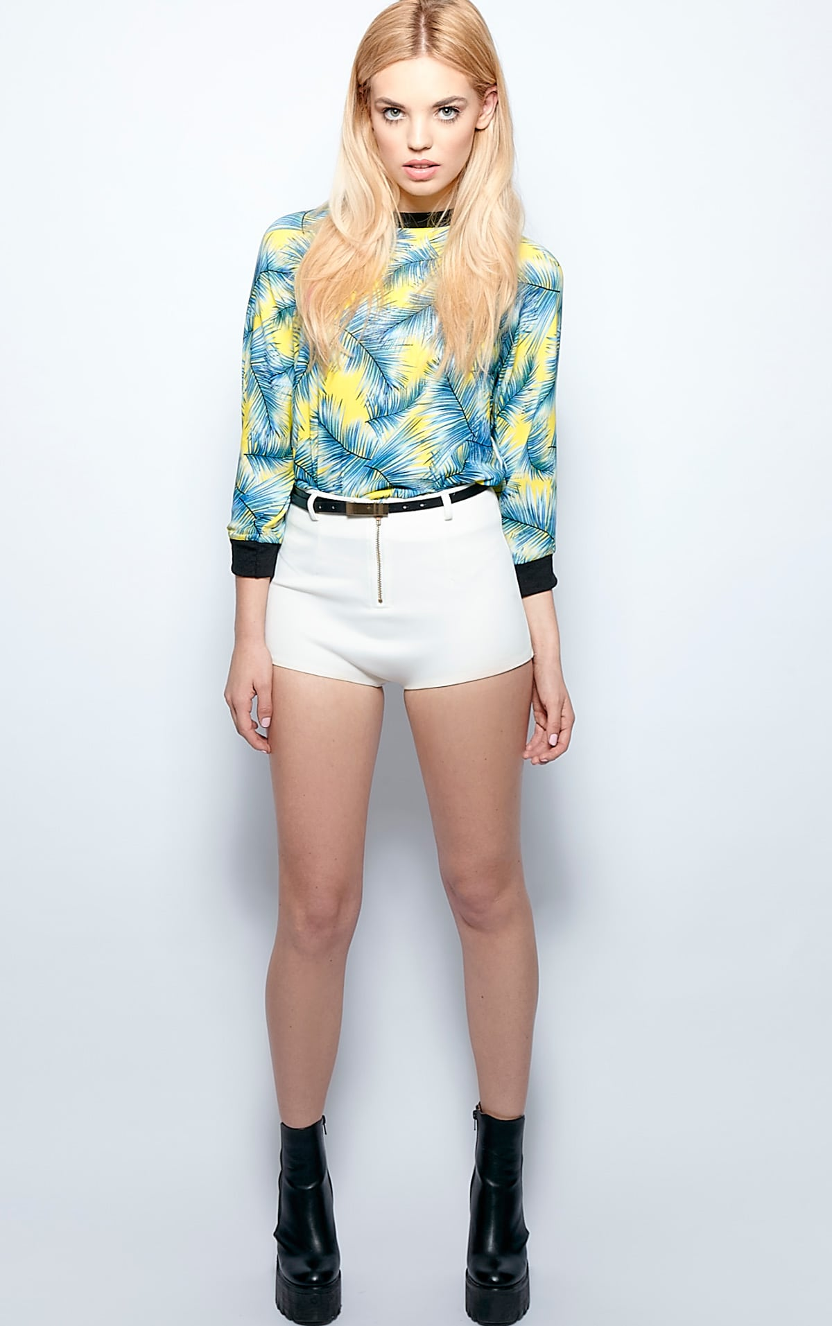 Mina Silk Chiffon Palm Print Top 5