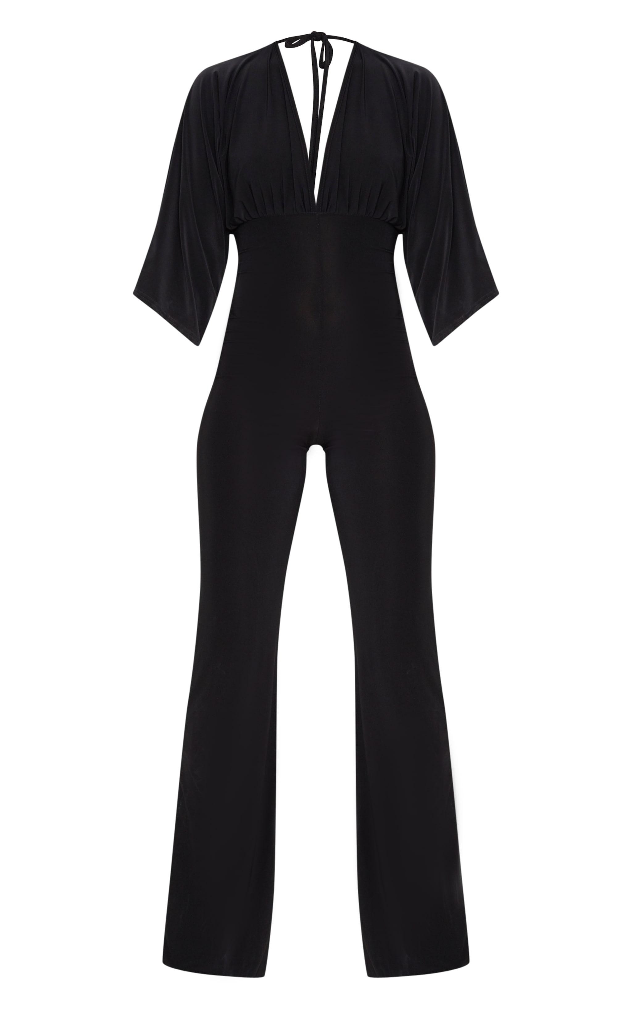 Petite Black Slinky Plunge Wide Leg Jumpsuit 3