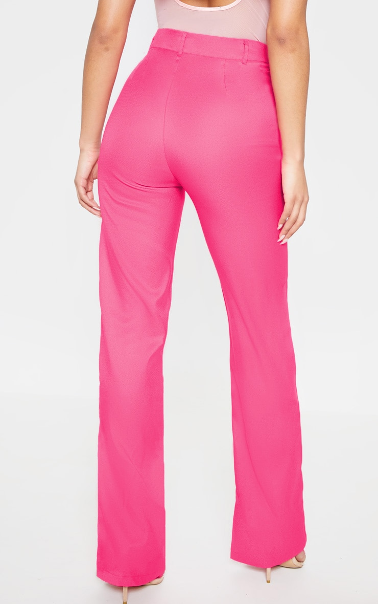 Anala Neon Pink High Waisted Straight Leg Trousers 4