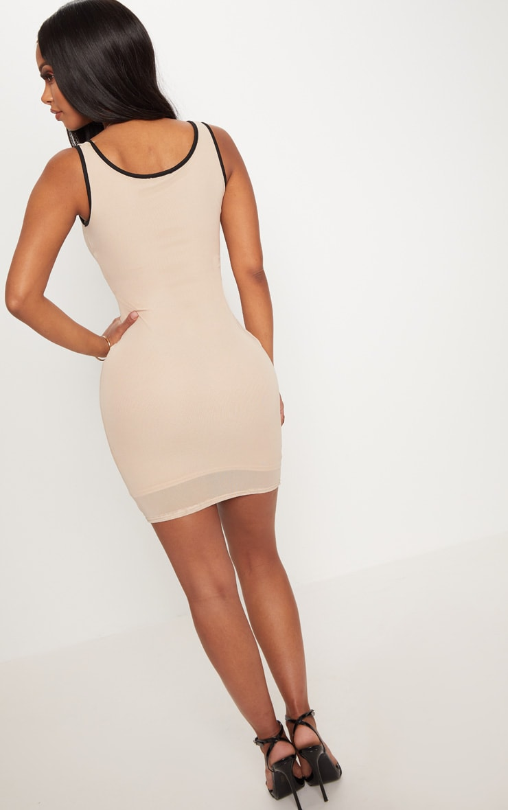 Shape Nude Contrast Binding Bodycon Dress 2