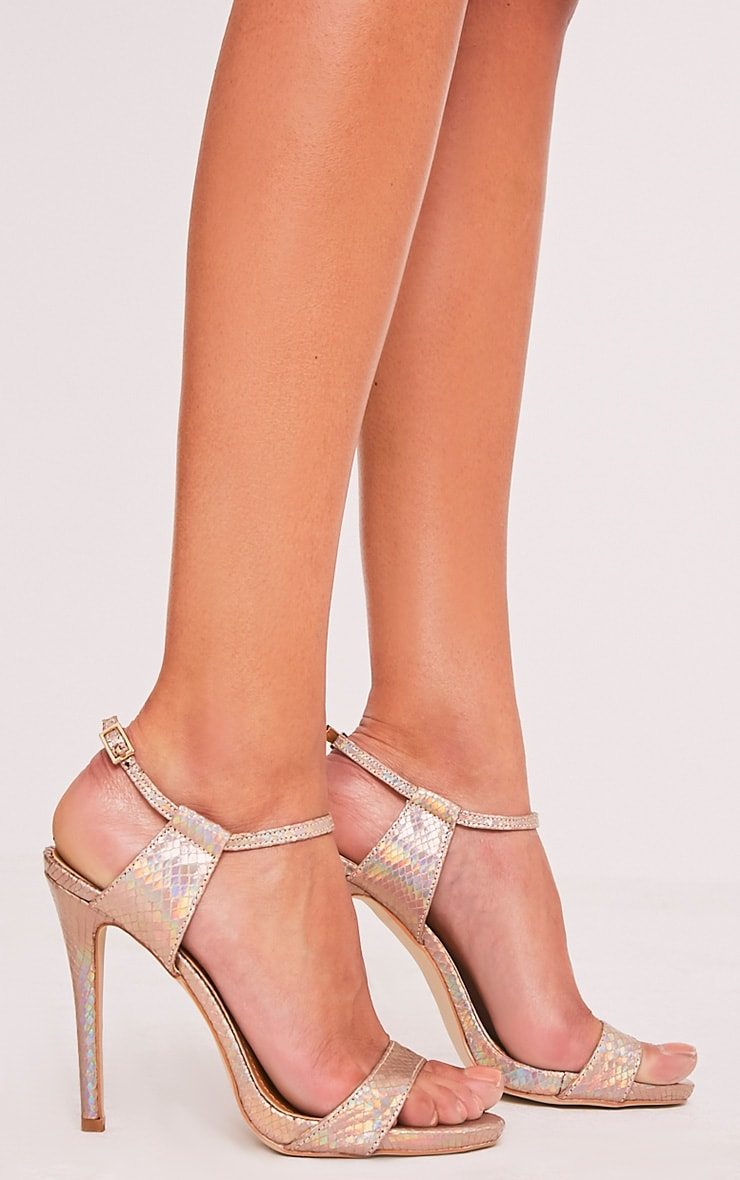 Lolah Gold Iridescent Snake Effect Strappy Sandals 3