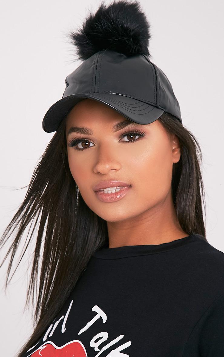 Black Matte PU Pom Pom Baseball Cap 3